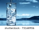 pouring water into a glass... | Shutterstock . vector #73168906