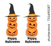 three cheerful pumpkins with... | Shutterstock .eps vector #731690287