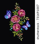 embroidery colorful botanical...   Shutterstock .eps vector #731691007