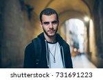 handsome attractive young man... | Shutterstock . vector #731691223