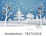 paper cut and craft winter... | Shutterstock .eps vector #731712313