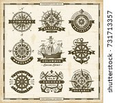 vintage nautical labels... | Shutterstock . vector #731713357