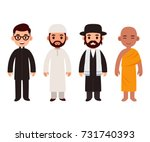 set of cute cartoon priests of... | Shutterstock .eps vector #731740393