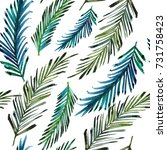 palm leaf tropical pattern | Shutterstock . vector #731758423