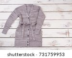 handmade knitted cardigan with... | Shutterstock . vector #731759953