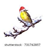 winter bird in red santa hat on ... | Shutterstock . vector #731762857