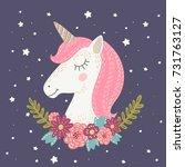 unicorn flower card. hand drawn ... | Shutterstock .eps vector #731763127