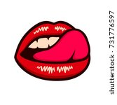 sensual lips licking mouth with ... | Shutterstock .eps vector #731776597