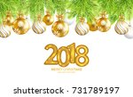 2018 merry christmas and happy... | Shutterstock .eps vector #731789197