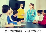 serious female student... | Shutterstock . vector #731795347