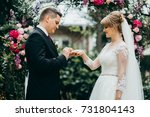 bride and groom are getting... | Shutterstock . vector #731804143