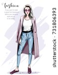 cool hand drawn fashion woman... | Shutterstock .eps vector #731806393