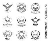 skulls outline black logo... | Shutterstock .eps vector #731808373