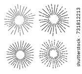set of sun rays  fireworks ... | Shutterstock .eps vector #731812213