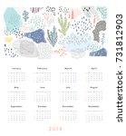 calendar 2018. printable... | Shutterstock .eps vector #731812903