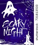 scary night halloween card....   Shutterstock .eps vector #731813533