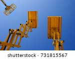scissor lift platform  cherry... | Shutterstock . vector #731815567