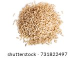 pile of  brown rice isolated on ... | Shutterstock . vector #731822497