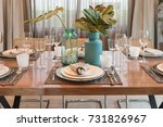 luxury table set on wooden... | Shutterstock . vector #731826967