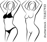 sketch of naked woman and woman ... | Shutterstock .eps vector #731827933