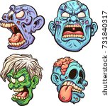 cartoon zombie heads with... | Shutterstock .eps vector #731840317