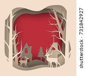 vector paper cut deer in pine... | Shutterstock .eps vector #731842927