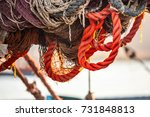 drying fishing nets on the... | Shutterstock . vector #731848813