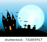 halloween castle on blue moon... | Shutterstock .eps vector #731855917