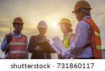 team engineers and technician... | Shutterstock . vector #731860117