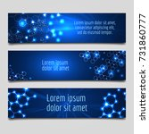 banner with glowing molecular... | Shutterstock .eps vector #731860777