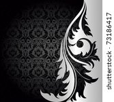 Raster version of vector black background with silver flowers and leaves - stock photo