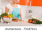 woman cutting vegetables in... | Shutterstock . vector #73187611