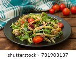 italian bucatini with shrimp ... | Shutterstock . vector #731903137