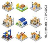 warehouse management isometric... | Shutterstock .eps vector #731926093