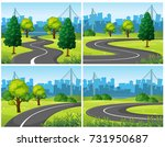 four scenes of city park and... | Shutterstock .eps vector #731950687