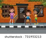 three kids hanging out on the... | Shutterstock .eps vector #731953213