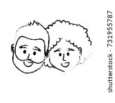 figure couple head together... | Shutterstock .eps vector #731955787