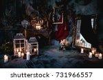 dark decor with dried flowers ... | Shutterstock . vector #731966557
