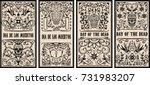 Stock vector set of dead day banner template sugar skulls design elements for poster flyer banner vector 731983207