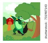 funny green anteater playing... | Shutterstock .eps vector #731987143