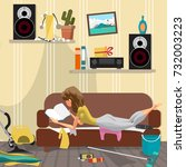 young lazy woman is lying on... | Shutterstock .eps vector #732003223
