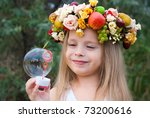 little girl with wreath from...   Shutterstock . vector #73200616