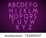 purple neon character font set... | Shutterstock .eps vector #732009247