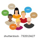 people avatar icons with dialog ... | Shutterstock . vector #732013627