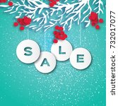 christmas sale for promotion.... | Shutterstock .eps vector #732017077