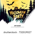 halloween party. vector... | Shutterstock .eps vector #732019027