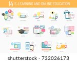 e learning and online education | Shutterstock .eps vector #732026173