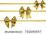 three golden bow on thin... | Shutterstock . vector #732050557