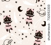 Stock vector seamless childish pattern with cute cat ballerina in space creative nursery background perfect 732052333