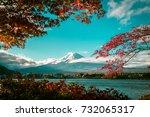 vintage autumn of mount fuji ... | Shutterstock . vector #732065317